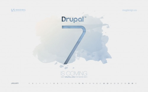 Drupal 7 Is Coming 62 in Desktop Wallpaper Calendar: January 2011