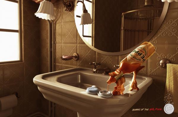 Alka Seltzer: Evil Bacon, ALKA SELTZER, ALMAPBBDO, BAYER, Печатная реклама