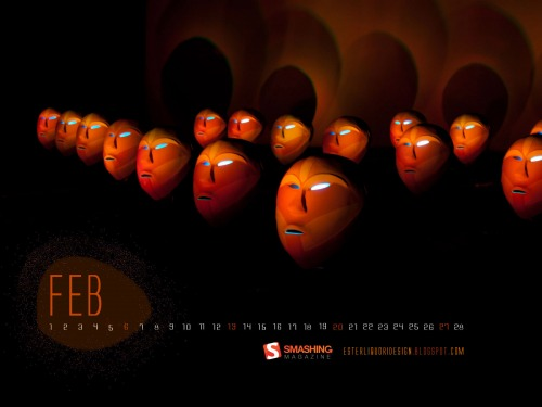 Masks 72 in Desktop Wallpaper Calendar: February 2011