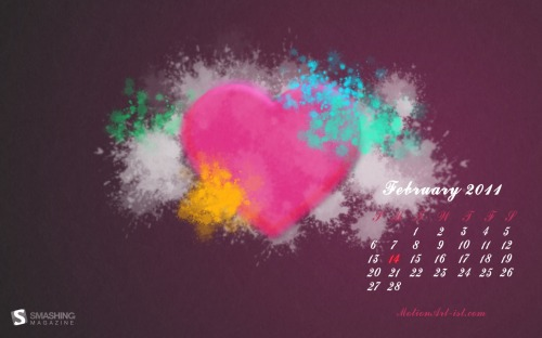 Love Splash 7 in Desktop Wallpaper Calendar: February 2011