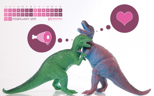 Prehistoric Love 66 in Desktop Wallpaper Calendar: February 2011