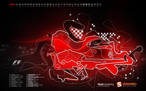 Formula1 53 in Desktop Wallpaper Calendar: March 2011