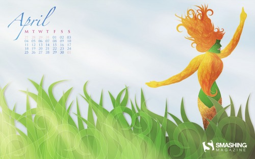 Flower Girl 65 in Desktop Wallpaper Calendar: April 2011