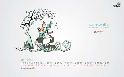 Vector Saraswathi 93 in Desktop Wallpaper Calendar: April 2011