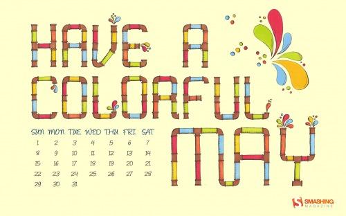 A Colorful May 64 in Desktop Wallpaper Calendar: May 2011