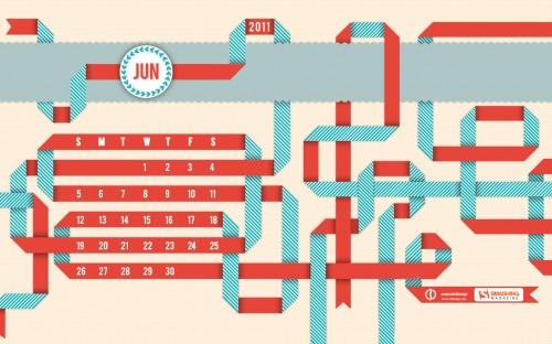 Winding Ribbons 15 in Desktop Wallpaper Calendar: June 2011