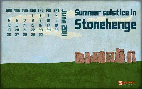 Summer Solstice In Stonehenge 92 in Desktop Wallpaper Calendar: June 2011