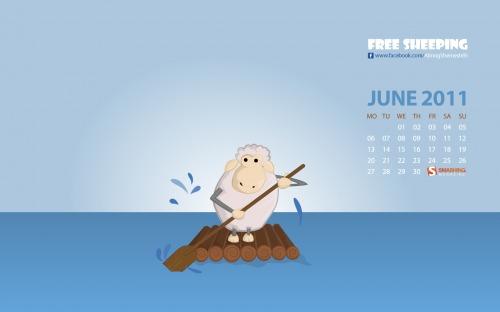 Free Sheeping 2 in Desktop Wallpaper Calendar: June 2011