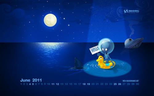 Hello World 25 in Desktop Wallpaper Calendar: June 2011