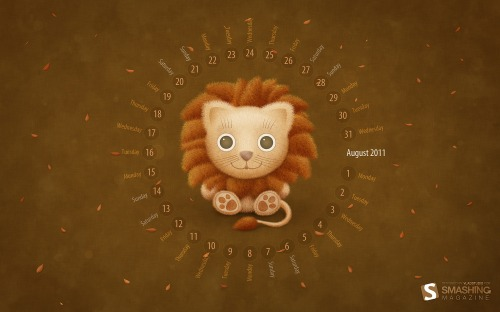 Lion 11 in Desktop Wallpaper Calendar: August 2011