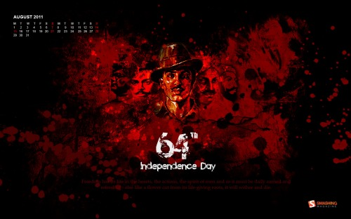 Independace Day 3 in Desktop Wallpaper Calendar: August 2011