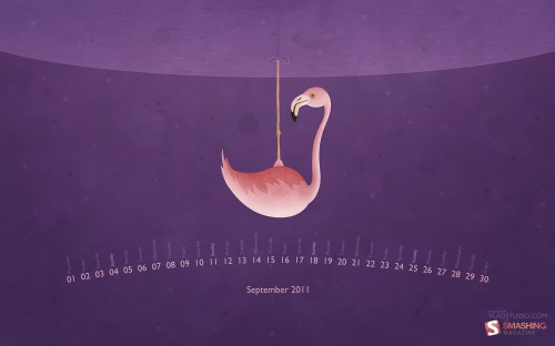 Flamingo 23 in Desktop Wallpaper Calendar: September 2011