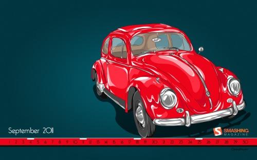 Red Beetle 46 in Desktop Wallpaper Calendar: September 2011