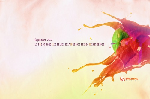 Colorful Apple 96 in Desktop Wallpaper Calendar: September 2011