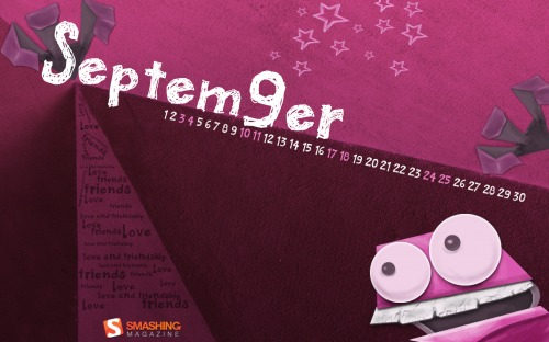 Love Friends 7 in Desktop Wallpaper Calendar: September 2011